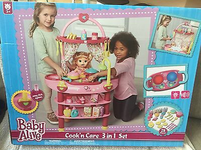 NIB NEW BABY ALIVE COOK 'N CARE 3 In 1 SET Doll Kitchen Cooking Bath Food Toy