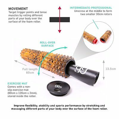 66fit Combi Pyramid Foam Roller & Mat - Trigger Point Massage Exercise Therapy