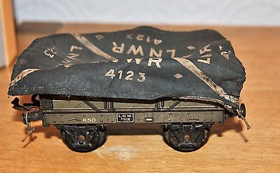 Vintage O Gauge Tinplate LNWR Open Wagon with Cover 4123