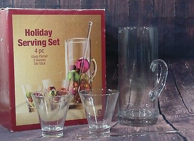 CLEAR GLASS COCKTAIL SERVING SET - Includes Pitcher 2 Glasses & Stirring Stick