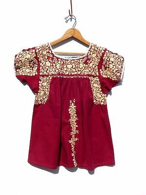 VINTAGE~70's MEXICAN Top~BURGANDY Cotton Embroidered OAXACAN Peasant HIPPIE S