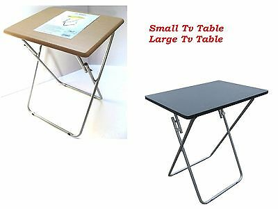 Folding Occasional Black TV Table Tea Coffee Bed Side With Metal Leg Home