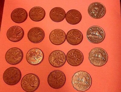 Canadian Coins mixed lot Pennies, Nickels 19 coins 1956-1969