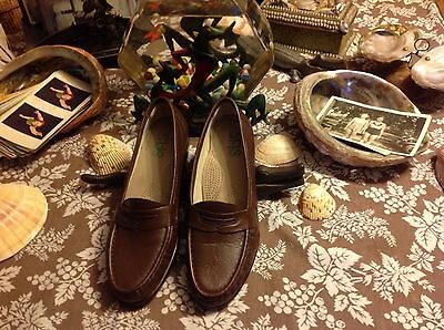 Womens Sas Usa 10.5 N Brown Leather Slip-On Loafer Shoes