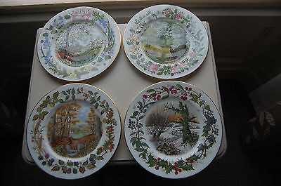 Coalport 'Woodland Seasons' Collection of 4 Plates illustrated by Tony Heritage