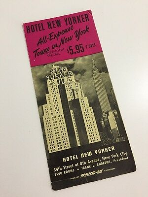 Vintage 40s Hotel New Yorker 1940s Brochure Tours Map Tourist New York City NYC
