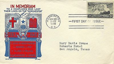 #1529 The Immortal Four Chaplains Fdc 3/28/48, Wprld War Ii Ss Dorchester 2/3/43