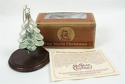 Old World Christmas Ornament Winter Pine Tree Blown Glass W/Box