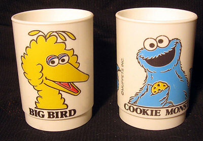 2 Vintage Muppets Inc Cup Tumbler Big Bird Cookie Monster