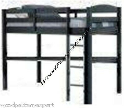 LOFT BUNK BED Paper Plans EASY DIY PATTERNS Build King Queen Full and Twin Sizes