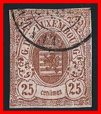 Luxembourg 1859 Coat Of Arms Sc#9 Used Cv$275.00  (K-J18)