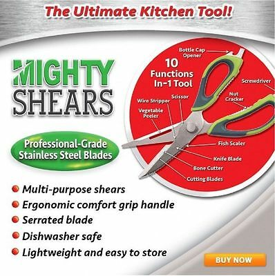 10 in1 Multi Purpose Home Kitchen Scissors Meat FishHerb Shears Stainless Steel