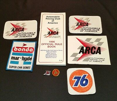 Huge Lot Vintage ARCA 76 Oil Bondo Racing Patches Sticker Pins NOS 1976