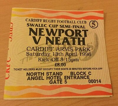NEWPORT v NEATH SWALEC CUP SEMI FINAL 1996 TICKET CARDIFF ARMS PARK