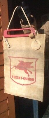 Vintage Mobil Oil Gas Socony Flying Horse Water Bag Sign Eagle Brand Tent & Duck