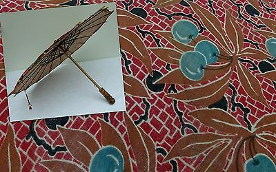 20's Girls Parasol Umbrella Wooden Cherries Sun Shade Pram Art Deco Antique