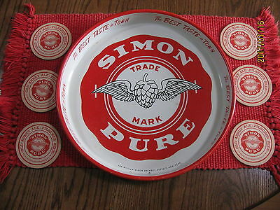 Simon Pure Beer Tray and 6 Simon Pure Coasters