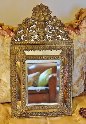 Superb Antique French Repousse / Toleware Rococo Style Cushion Mirror 19th C