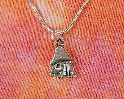 Hobbit House Necklace, Tiny House, Sprite Elf Mushroom Home, LOTR Charm Pendant