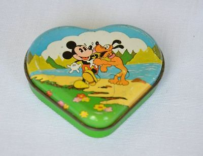 Seltene alte Blechdose MICKEY LOVE, Walt Disney Productions, Herzform