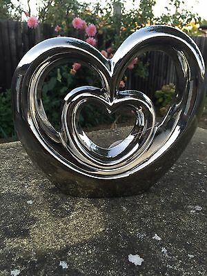 NEW SILVER MODERN CONTEMPORARY LARGE HEART SHAPED chrome sculpture ornament GIF