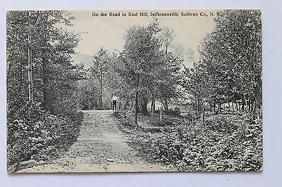 Old postcard ON THE ROAD TO EAST HILL, JEFFERSONVILLE, SULLIVAN COUNTY N.Y. 1910