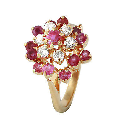 1 Carat Natural Pink Sapphire 14K Solid Yellow Gold Diamond Ring