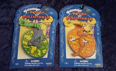 ROCKY & BULLWINKLE Lot 2 New Old Stock Key Chains Bag Tags - NIP VTG Collectors!