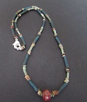 NILE  Ancient Egyptian Amulet Faience Mummy Bead Necklace ca 600 BC