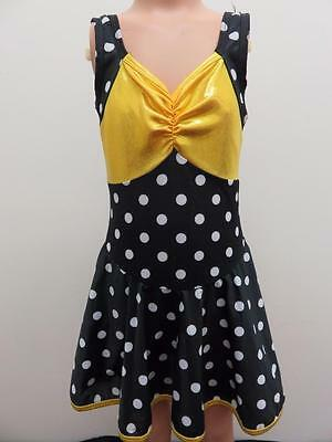 Dance Costume Medium Child yellow polka dot Jazz Tap  Solo Competition Pageant