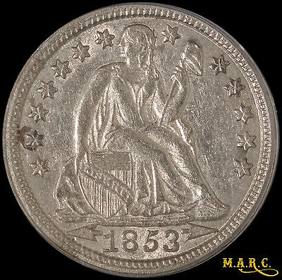 1853 AU53 PCGS 10C Seated Liberty Dime. Bright and Lustrous! Free Shipping, MARC