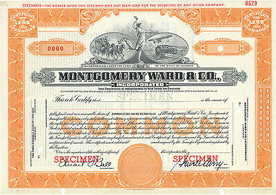 Montogomery Ward & Co Common Stock Certificate SPECIMEN Orange