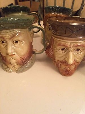 4 X Royal Character/toby Jugs By Kingston Pottery. 7 Inch Tall. Excell. Cond.
