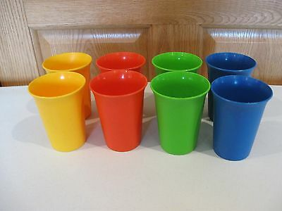 TUPPERWARE 8 bell tumblers/glasses 7oz in primary colors