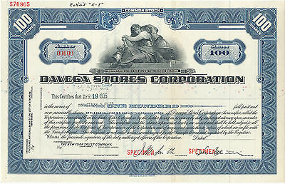 Davega Stores Corporation Common Stock Certificate SPECIMEN Blue
