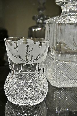 Edinburgh Crystal large Thistle Pattern 4 inch whisky glass, signed.