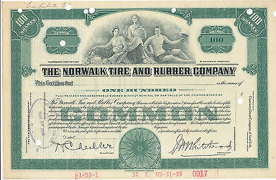 The Norwalk Tire and Rubber Co Common Stock Certificate Specimen