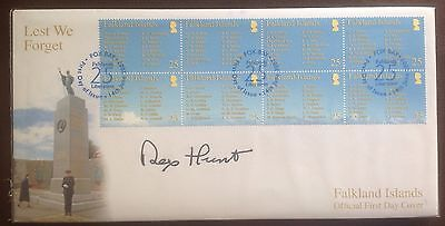 First Day Cover signed by Sir Rex Hunt