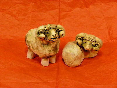 Set of (2) Curly Horned Sheep Figurines - Heavy Stoneware Pottery