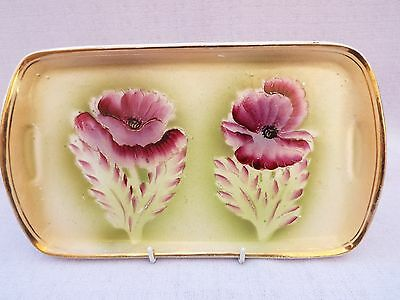 Vintage Peony Rose Sandwich Serving Tray Hand Painted Ceramic