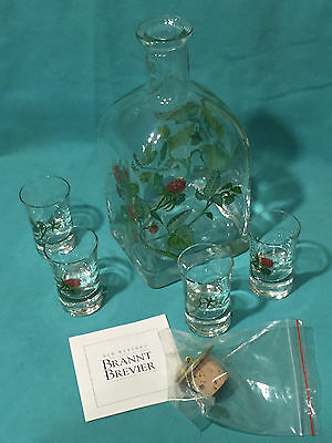 German Decorative Schnaps Set of Bottle, Stopper and 4 Glasses NEW in BOX