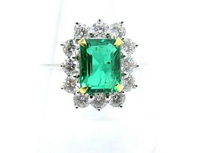 Emerald 1.92ct. & Diamonds 0.96ct.White Gold 18ct.Used Cluster Ring Size L 1/2