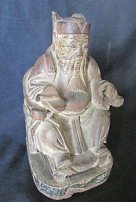 Beautiful Antique Asian Chinese Sitting Man Carved Wooden Statue