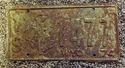1974 Wyoming License Plate