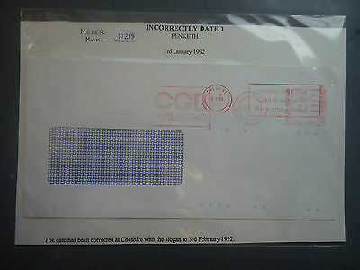 great britain 1992 meter mail incorrectly dated penketh used