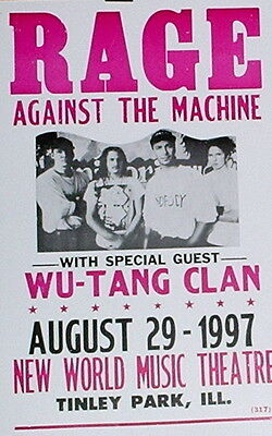 """Rage Against the Machine Concert Poster - 1997 w/ Wu-Tang Clan - 14""""x22"""""""
