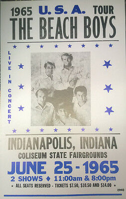 """The Beach Boys Concert Poster - 1965 U.S.A. Tour - Indianapolis, IN 14""""x22"""""""