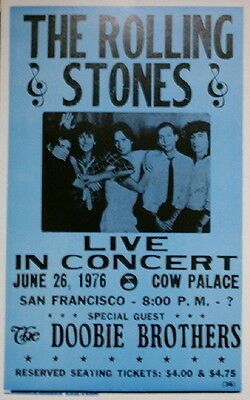 "The Rolling Stones Concert Poster - 1976 w/ the Doobie Brothers - 14""x22"""