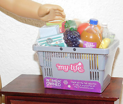 NEW Grocery Shopping Basket Set w/ 15 Food Items fits 18 inch American Girl Doll