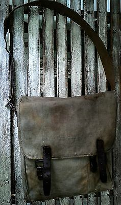 WW2 canvas and leather satchel French Cavalry nice kit Man bag laptop bushcraft